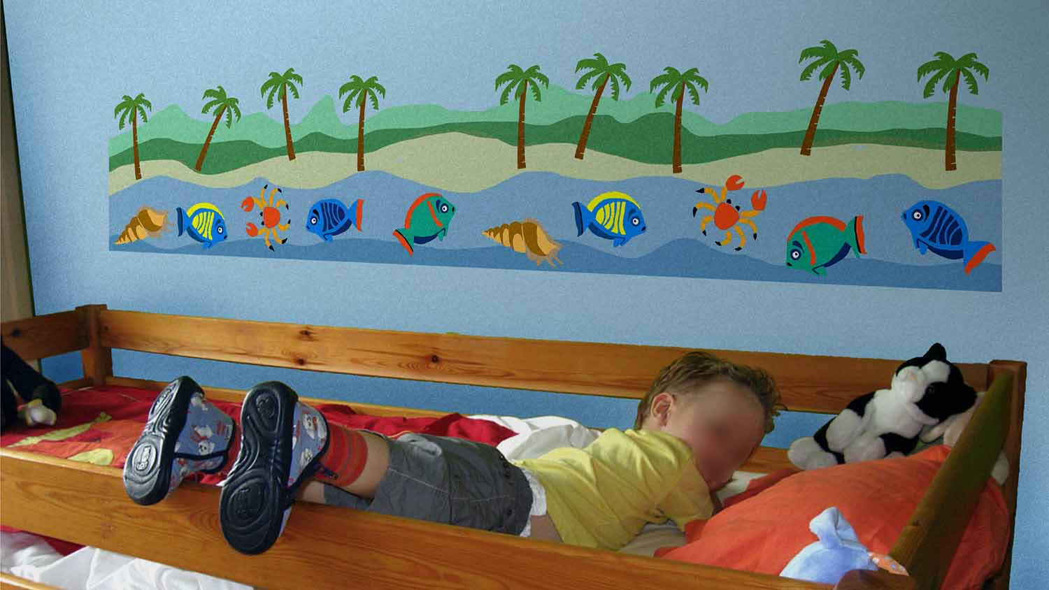 Simulations de decoration au pochoirles murs de pierre for Pochoir chambre enfant